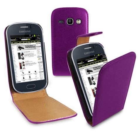 Casing Hp Galaxy Fame leather style flip for samsung galaxy fame purple