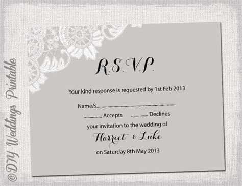 rsvp cards for weddings templates wedding rsvp template diy silver gray antique