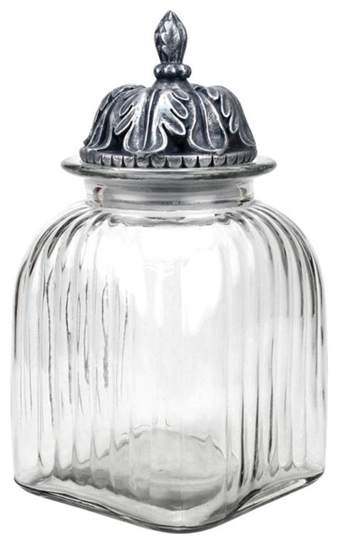 Decorative Glass Jars For Kitchen by Fluted Glass Canister With Decorative Lid Traditional