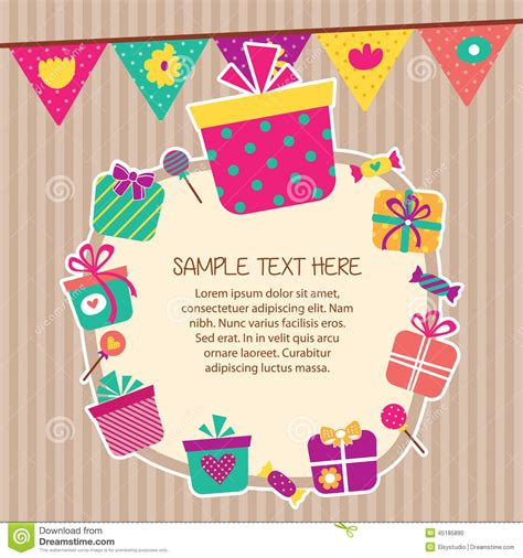 birthday layout vector birthday presents layout frame design stock vector image