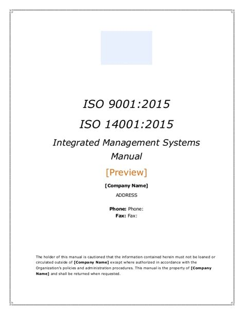 Integrated Management System Manual Template Preview Iso 14001 2015 Template Free