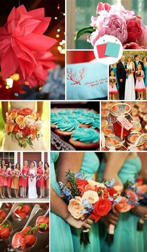 turquoise and coral wedding ideas juxtapost