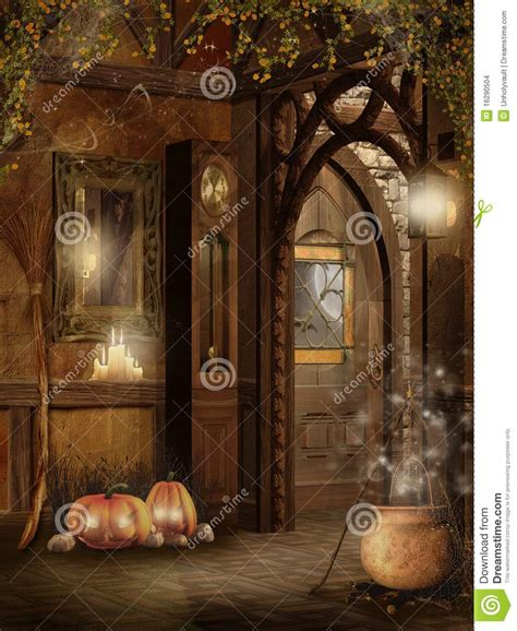 Interior Design Home Based Business cottage interior with halloween decorations stock images