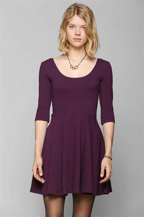 knit skater dress outfitters sparkle fade 3 4 sleeve knit skater dress