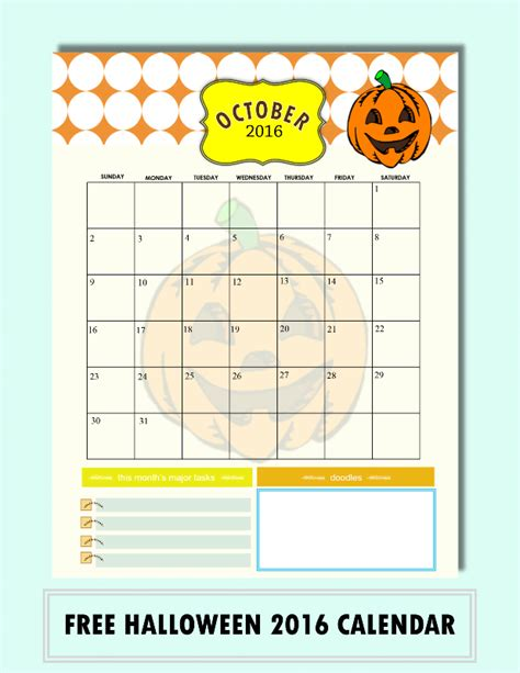free printable planner 2016 october free calendars for october 2016 halloween designs