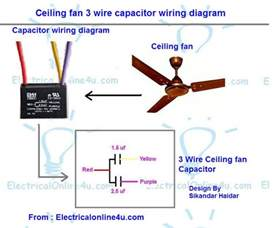 4 Wire Ceiling Fan Wiring Diagram Ceiling Fan 3 Wire Capacitor Wiring Diagram Electrical