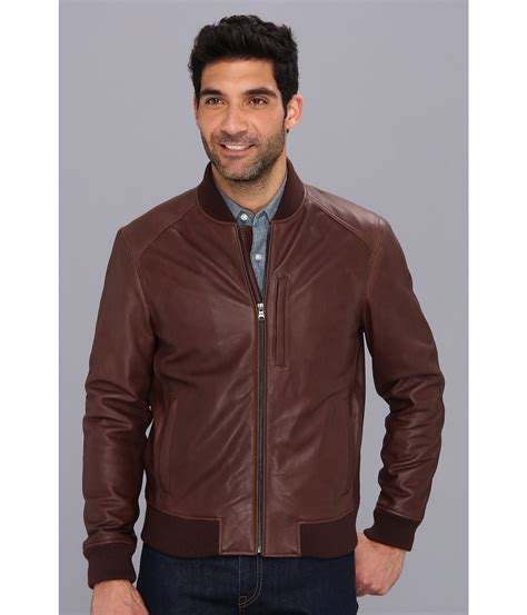 cole haan brown leather jacket cole haan varsity leather jacket in brown for chocolate lyst