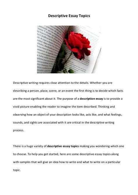 Descriptive Essay About Person by Descriptive Essay Topics