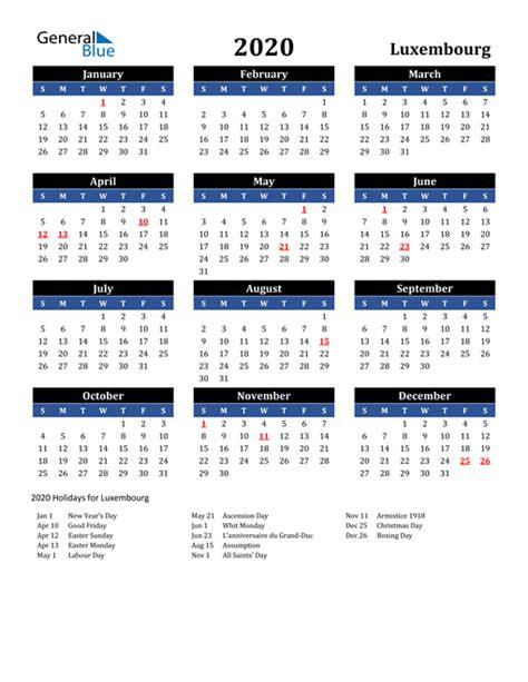 calendar luxembourg  holidays