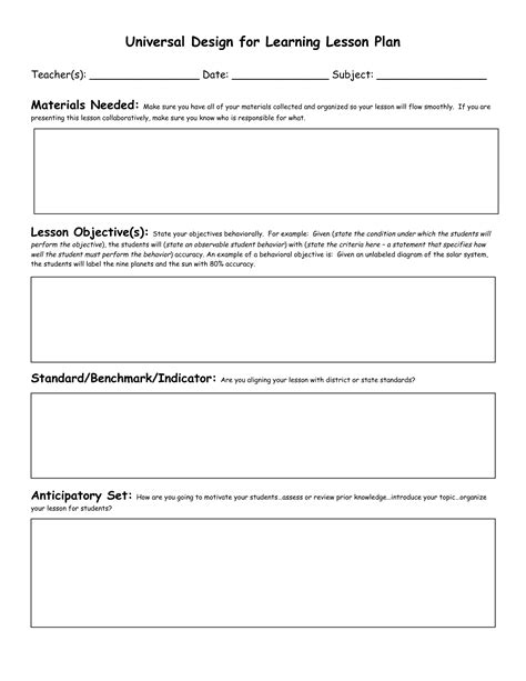 generic lesson plan template generic lesson plan template lesson plan template ideas on