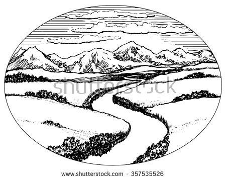 how to draw a scenery boat in river mountains valley river landscape ink drawing stock vector