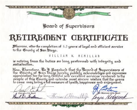 certification letter for retirement certificate of appreciation retirement image collections