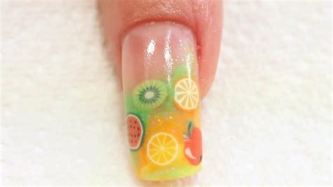 nail art tutorial naio summer fruit acrylic nail art tutorial youtube