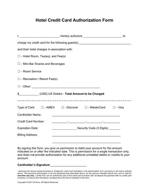 Authorization Letter For Credit Card Use In Hotel Free Hotel Credit Card Authorization Forms Pdf Word Eforms Free Fillable Forms