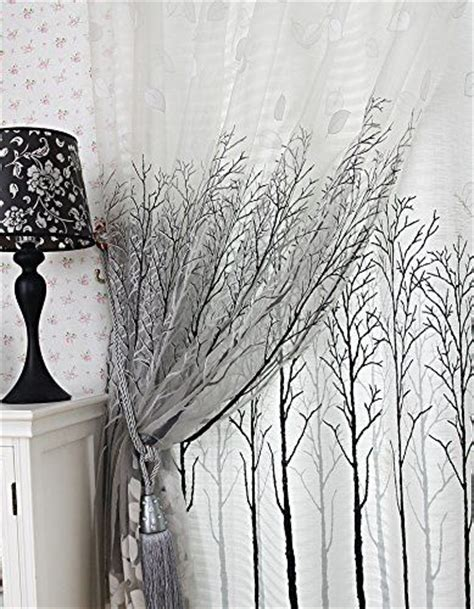 tree window curtains elleweideco modern tree branch white sheer green pink grey