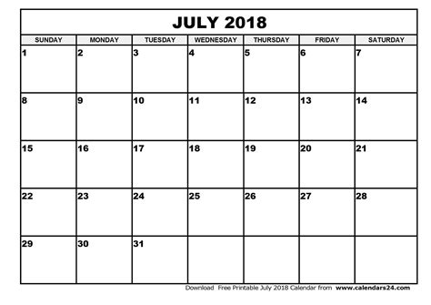 Calendar July 2018 July 2018 Calendar Monthly Calendar 2017