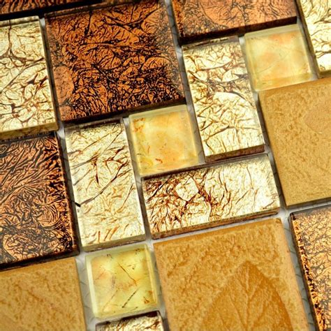 Where To Buy Kitchen Backsplash Tile by Brown Color Electroplating Glass With Leaf Drawing Square