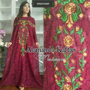 Pink Kamal Kaftan Dress Gamis Maxi Brukat Free Bross Murah Promo baju gamis pesta alamanda brokat busana muslim resepsi