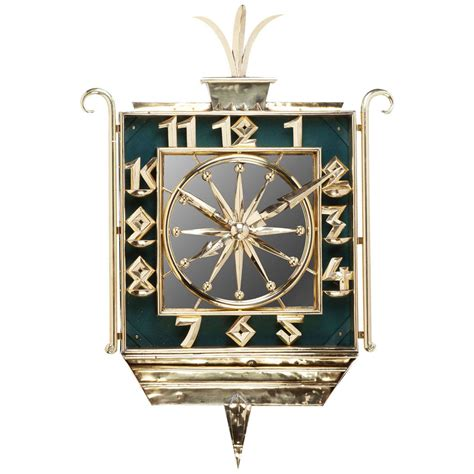 art wall clock art deco brass and mirrored wall clock at 1stdibs