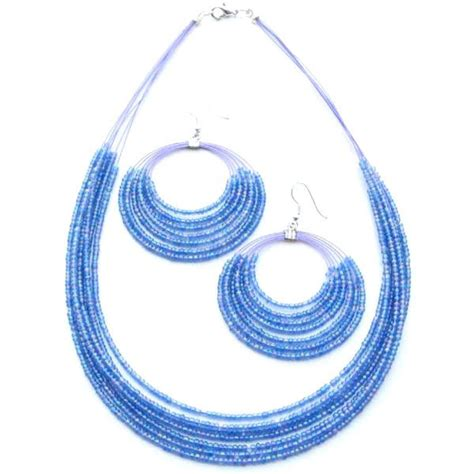 sky blue beaded fashion jewelry layered necklace earrings
