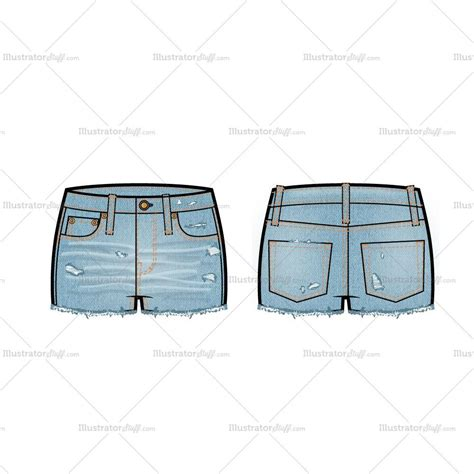 adobe illustrator denim pattern low rise distressed denim shorts flat template