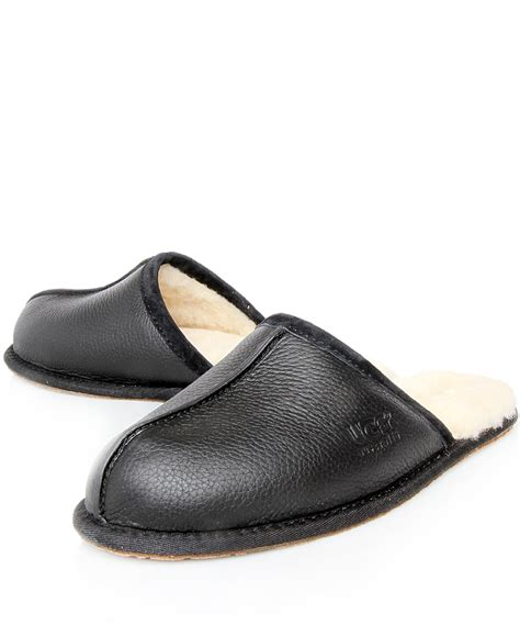 black slipper shoes ugg black scuff leather slippers in black for lyst