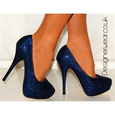 high heels truffle blue glitter high heels platforms shoes court