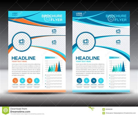 background design for newsletter blue and orange business brochure flyer design layout