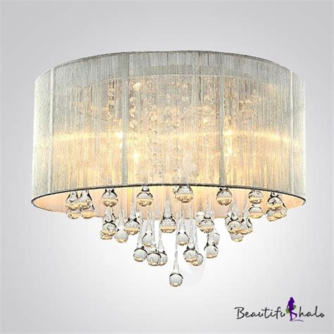 best selling modern flush mount chandeliers lighting silver drum shade and rich crystal rainfall flush mount