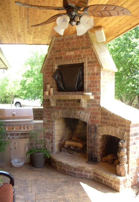 outdoor fireplace and grill remodel