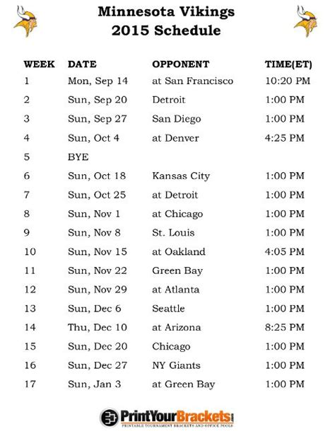 printable vikings schedule 2015 280 best images about my special interests sports on