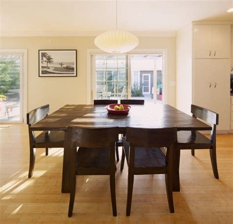 bench dining room table chairs bamboo floor contemporary