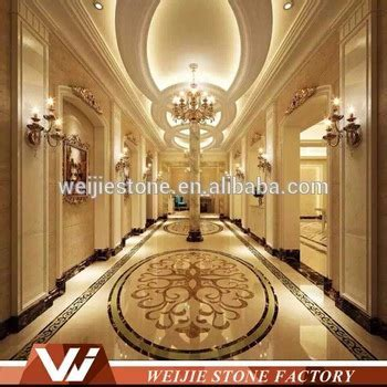 Grand Hotel Lobby Marble Floor Pattern Waterjet Inlay