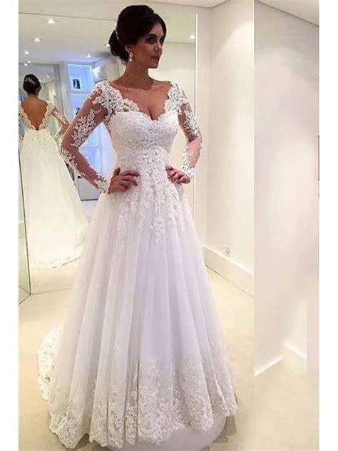 long sleeves lace  neck wedding dresses bridal