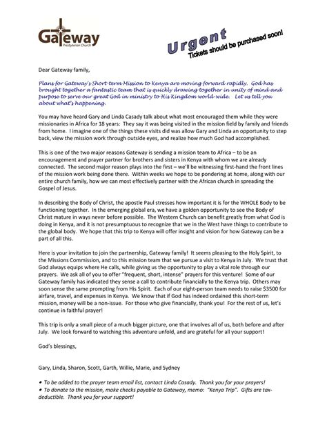 sle mission trip support letter the best letter sle
