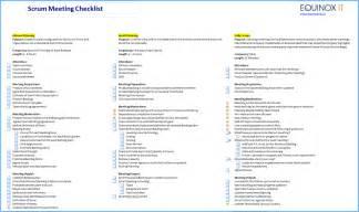 scrum meeting template scrum meeting checklists