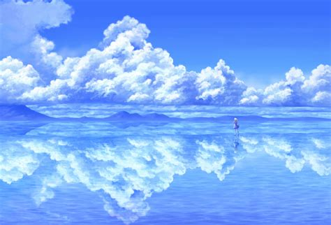 wallpaper anime ocean reflection wallpaper and background 1389x946 id 452136