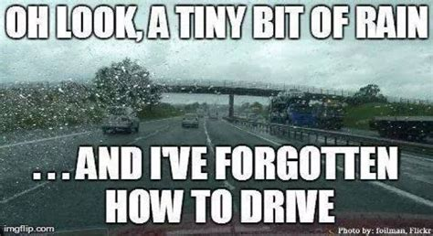 Funny Rain Memes - tiny bit of rain in los angeles and the whole city goes
