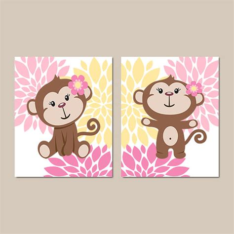 Girl Monkey Wall Art Prints Or Canvas Baby Girl Nursery Monkey Wall Decor For Nursery