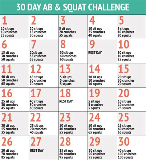 30 day abs challenge chart 30 day abs squat challenge healthy mission dietitian