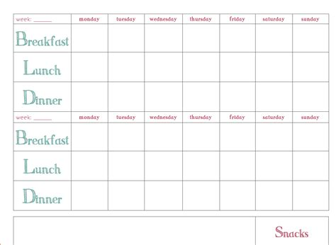 Free Download Weekly Meal Planner Template Printable Weekly Planner Template Meal Plan Template Word 2