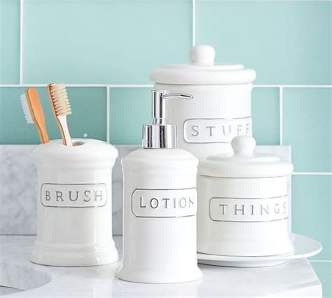 pottery barn bathroom accessories ceramic text bath accessories pottery barn