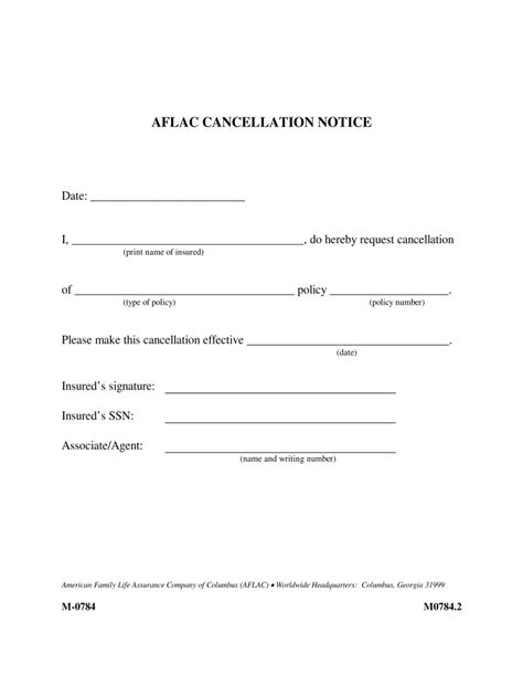 Aflac Cancellation Form - Fill Out and Sign Printable PDF