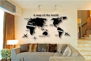 home accents wall: world map wall sticker globe earth wall decor for kids room home
