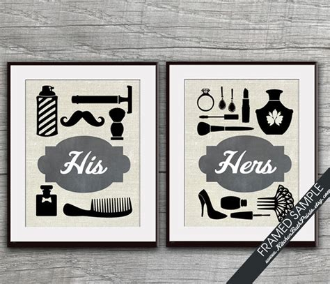 his and hers bathroom decor his and hers bathroom prints set of 2 art print featured