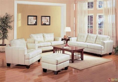 White Leather Living Room Chair - samuel white bonded leather living room sofa