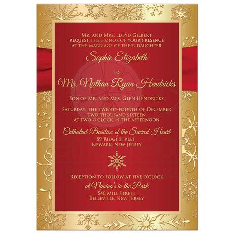 wedding invitation jewels winter wedding invitation gold snowflakes printed