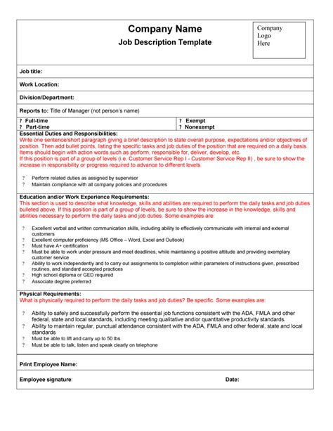 position description templates 47 description templates exles template lab