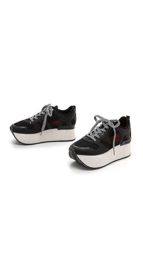 dkny platform sneakers dkny platform sneakers black in black lyst