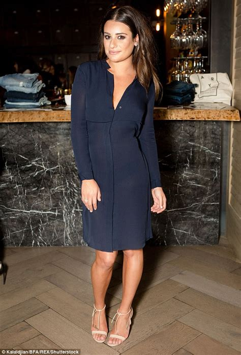 Lea Navy Dress Lxr lea michele oozes an understated elegance as she attends ayr fashion bash daily mail